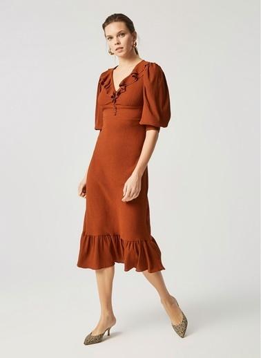 Monamoda Yakası Fırfır Detaylı Korsaj Elbise Oranj